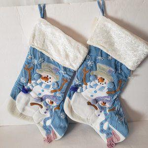 Home Interiors Blue & White Snowman Stockings NWT